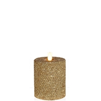 "Liown - Moving Flame - Flameless LED Candle - Indoor - Honeycomb Wax - Gold Glitter Coating - Unscented - Remote Ready - 3.25"" x 4.5"""