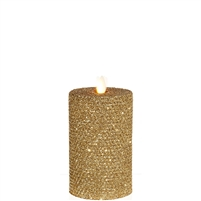 "Liown - Moving Flame - Flameless LED Candle - Indoor - Honeycomb Wax - Gold Glitter Coating - Unscented - Remote Ready - 3.25"" x 6"""