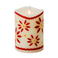 "Temp-tations by Tara - Flameless LED Candle - Indoor - Ivory Wax - Old World Red Pattern - 3.25"" x 5"" - Remote Ready"