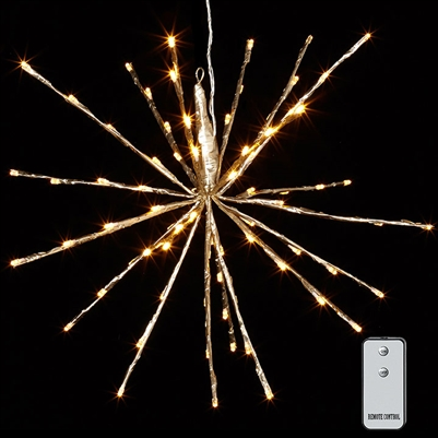 "RAZ Imports - 18"" Champagne Starburst with 80 Warm White LED Lights and Remote Control"