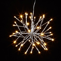 "RAZ Imports - 10"" Silver Starburst with 48 Warm White LED Lights and 8-Hour Timer"