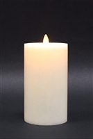 "Avalon - Flat Top Moving Flame - Flameless LED Candle - Indoor - Unscented Frosted Ivory Wax - Remote Ready - 3.5"" x 7"""