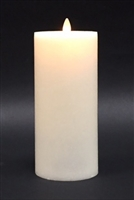 "Avalon - Flat Top Moving Flame - Flameless LED Candle - Indoor - Unscented Frosted Ivory Wax - Remote Ready - 3.5"" x 9"""