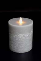 "Avalon - Flat Top Moving Flame - Flameless LED Candle - Indoor - Unscented Platinum Wax - Chalk Finish - Remote Ready - 4"" x 5"""