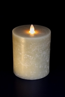 "Avalon - Flat Top Moving Flame - Flameless LED Candle - Indoor - Unscented Oatmeal Wax - Chalk Finish - Remote Ready - 4"" x 5"""
