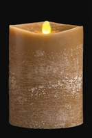 "Matrixflame - Flickering Digital Flameless LED Candle - Indoor - Unscented Olive Chalk Finish Wax - Remote Ready - 4"" x 5"""