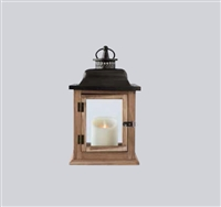 "LightLi - Moving Flame LED Candle Lantern - Wood & Metal Construction w/ Glass Panes - 7.5"" x 5.5"" x 12.5"" - Remote Ready"