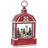 "RAZ Imports - 10.75"" Snowman on the Farm Lighted Water Barn Lantern"