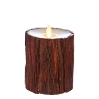 "Liown - Moving Flame - Flameless LED Candle - Indoor -  Cedar Wrapped - Ivory Unscented Wax - Flat Top - Remote Ready - 3.5"" x 4"""