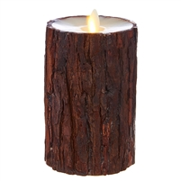 "Liown - Moving Flame - Flameless LED Candle - Indoor -  Cedar Wrapped - Ivory Unscented Wax - Flat Top - Remote Ready - 3.5"" x 6"""