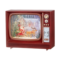"RAZ Imports - 10"" Santa and Reindeer Lighted Water TV"