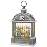 "RAZ Imports - 11"" Bicycle With Dog Lighted Water Barn - Lighted Water Lantern"