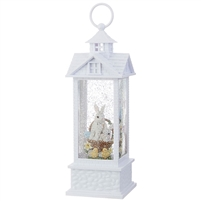 "RAZ Imports - 11"" Bunnies in Basket Lighted Water Gazebo - Lighted Water Lantern"