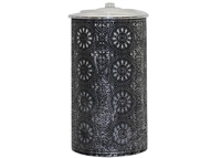 "AquaFlame Color Changing LED Candle Water Fountain - Black & Silver Metal Patina - Citronella & Essential Oils - Indoor/Outdoor - Small - 4.37"" x 8.27"" - Remote Control"