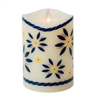"Temp-tations by Tara - Flameless LED Candle - Indoor - Ivory Wax - Old World Blue Pattern - 3.25"" x 5"" - Remote Ready"
