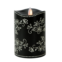 "Temp-tations by Tara - Flameless LED Candle - Indoor - Wax - Floral Lace Black - 3.25"" x 5"" - Remote Ready"
