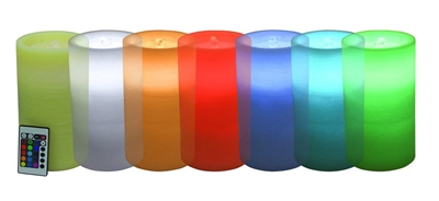 "AquaFlame - Color Morphing Flameless LED Candle Fountain - Ivory Wax - Fresco Finish - 4.2"" x 7.8"" - Remote Control"