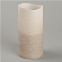 "Everlasting Glow - Flameless LED Candle - Indoor - Distressed Texture Wax Finish - Misty Taupe Gradient Faded Color - 3"" x 6"""