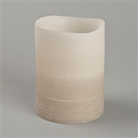 "Everlasting Glow - Flameless LED Candle - Indoor - Distressed Texture Wax Finish - Misty Taupe Gradient Faded Color - 3"" x 4"""