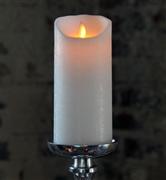 "Mystique - Flameless LED Candle - Indoor - Wax - Distressed White - 3.5"" x 7"""