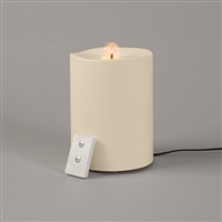 "Everlasting Glow - Fountain Flame Wavy Edge Resin - Flameless LED Candle - Indoor - Ivory - 4"" x 6"" - Remote Ready"