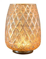 "The Boston Warehouse - The Torchier Beaded Gold & Silver Mercury Glass Hurricane Lantern with LED Simulated Fire Base - Rechargeable - 6"" x 8"" - Remote Control"