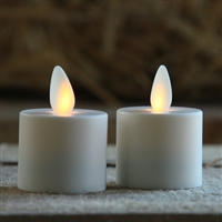 Mystique - Flameless LED Tealights - Pair of 1.5-Inch x 1.25-Inch Tealights - Ivory ABS Plastic