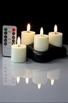 Radiance - Set of 4 Rechargeable Tealight Votives - Realistic LED Flame Effect - Indoor - Unscented - Remote Ready