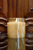 "Radiance - Glass Pillar Candle - Poured Wax - Realistic LED Flame Effect - Indoor - Unscented Wax - Remote Ready - 5.75"" x 5.75"""