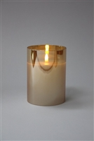 "Radiance - Champagne Glass Pillar Candle - Poured Wax - Realistic LED Flame Effect - Indoor - Unscented Wax - Remote Ready - 3.5"" x 5"""