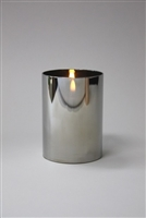 "Radiance - Chrome Glass Pillar Candle - Poured Wax - Realistic LED Flame Effect - Indoor - Unscented Wax - Remote Ready - 3.5"" x 5"""