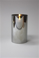 "Radiance - Chrome Glass Pillar Candle - Poured Wax - Realistic LED Flame Effect - Indoor - Unscented Wax - Remote Ready - 3.5"" x 6"""