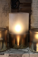 "Radiance - Metallic Frosted Glass Pillar Candle - Poured Wax - Realistic LED Flame Effect - Indoor - Unscented Wax - Remote Ready - 3.5"" x 6"""