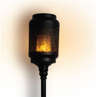 The Boston Warehouse - The Torchier Digital LED Flame Garden Torch Lantern with Stand - Black Metal Construction - Rechargeable - Outdoor - Remote Ready