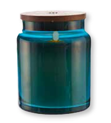 "LightLi by Liown - Moving Flame LED Candle - Blue Glass Jar w/ Wooden Lid - Vanilla Scented Ivory Wax - Bluetooth App & Remote Ready - 4"" x 5.5"""