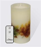 "AquaFlame - Flameless LED Candle Fountain - Embedded Fall Leaves - Ivory Wax - 4.2"" x 7.8"" - Remote Control"