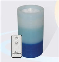 "AquaFlame - Flameless LED Candle Fountain - Blue Tri-Colored Wax - Fresco Finish - 4.2"" x 7.8"" - Remote Control"