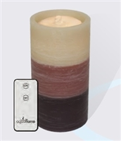 "AquaFlame - Flameless LED Candle Fountain - Brown Tri-Colored Wax - Fresco Finish - 4.2"" x 7.8"" - Remote Control"