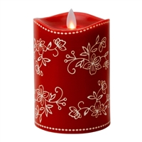 "Temp-tations by Tara - Flameless LED Candle - Indoor - Wax - Floral Lace Red - 3.25"" x 5"" - Remote Ready"