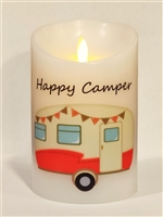 """Happy Camper"" (Burnt Orange) Moving Flame LED Candle - White Wax - Indoor - 3.5"" x 5"" - Remote Enabled"