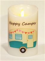 """Happy Camper"" (Aqua Blue) Moving Flame LED Candle - White Wax - Indoor - 3.5"" x 5"" - Remote Enabled"