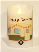 """Happy Camper"" (Olive Green) Moving Flame LED Candle - White Wax - Indoor - 3.5"" x 5"" - Remote Enabled"