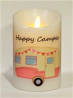 """Happy Camper"" (Hot Pink) Moving Flame LED Candle - White Wax - Indoor - 3.5"" x 5"" - Remote Enabled"