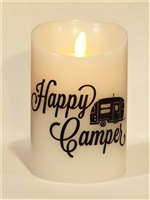 """Happy Camper"" (Black & White) Moving Flame LED Candle - White Wax - Indoor - 3.5"" x 5"" - Remote Enabled"