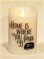 """Home Is Where You Park It"" - ""Happy Camper"" Moving Flame LED Candle - White Wax - Indoor - 3.5"" x 5"" - Remote Enabled"