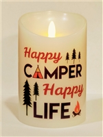 """Happy Camper Happy Life"" Moving Flame LED Candle - White Wax - Indoor - 3.5"" x 5"" - Remote Enabled"