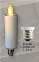 "Mystique Moving Flame - Flameless LED Candle Chandelier Bulb - E12 Base (E26 Adapter Included) - Ivory - 1.0"" x 4.1"""""