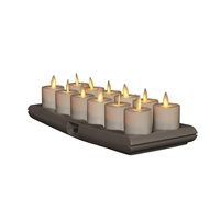 Torchier Moving Flame - Rechargeable Flameless LED Candles - Set of 12 x 1.6-Inch Tealight Votives with Charging Base - Ivory ABS Plastic - Remote Ready