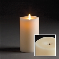 "LightLi by Liown - Wick-to-Flame - Moving Flame - Flameless LED Candle - Indoor - Ivory Paraffin Wax - Remote Ready - 4"" x 7"""
