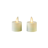 "Matchless - Pair of Moving Flame LED Tealight Candles - Indoor - ABS - Ivory - Unscented - Remote Ready - 1.4"" x 2"""